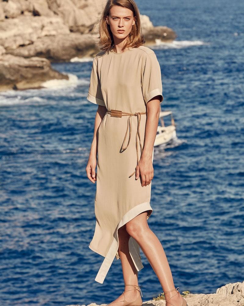 Victoria Beckham Short-Sleeve Asymmetric-Hem Shift Dress with Leather Belt