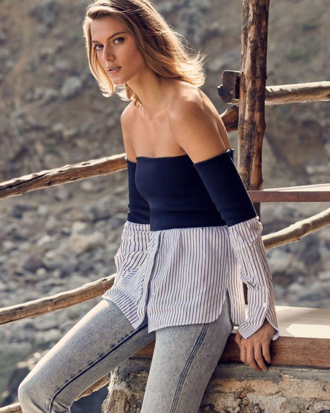 Victoria Victoria Beckham Off-the-Shoulder Striped-Hem Twofer Blouse