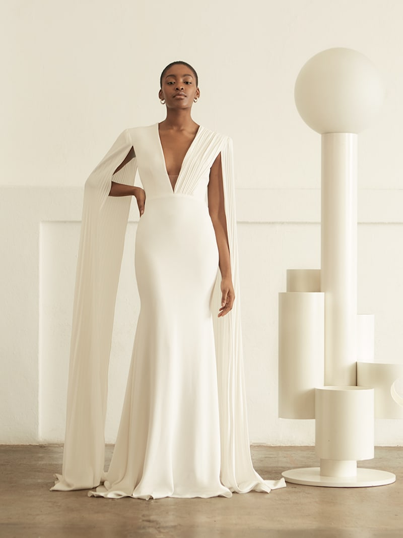 Alex Perry Clemence Tulle-Trimmed Crepe Gown