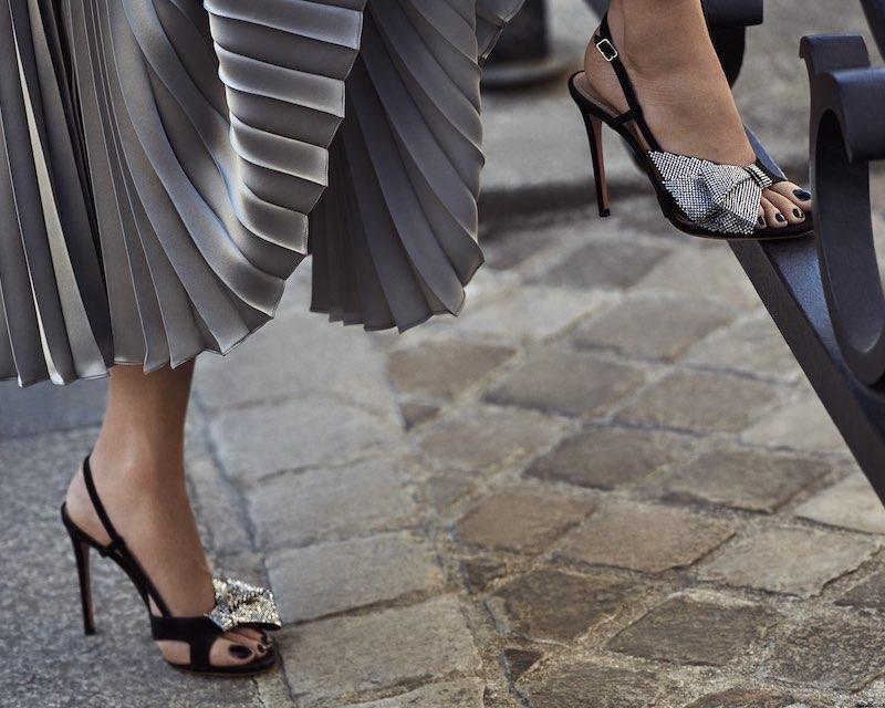 Aquazzura Flash Dance Crystal-Bow Sandals