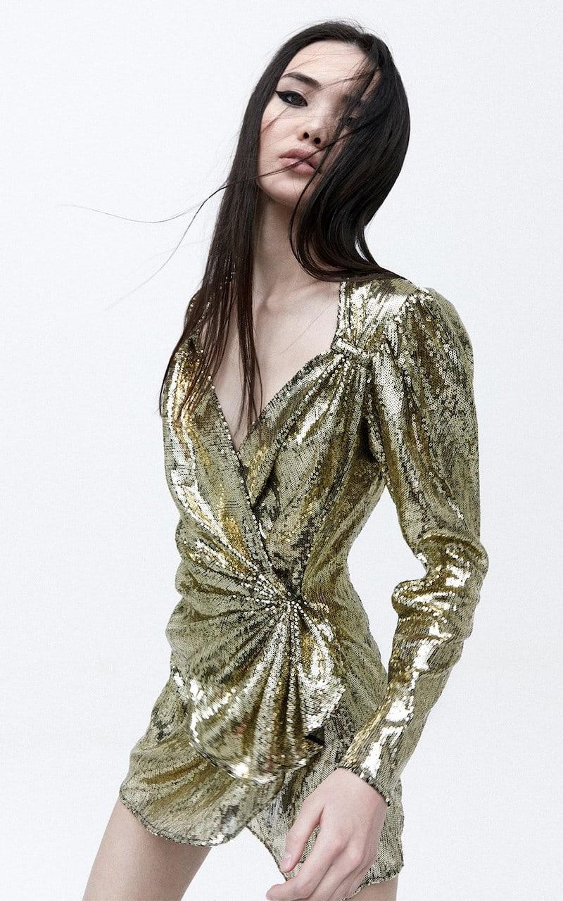 Attico Gold Sequined Mini Wrap Dress