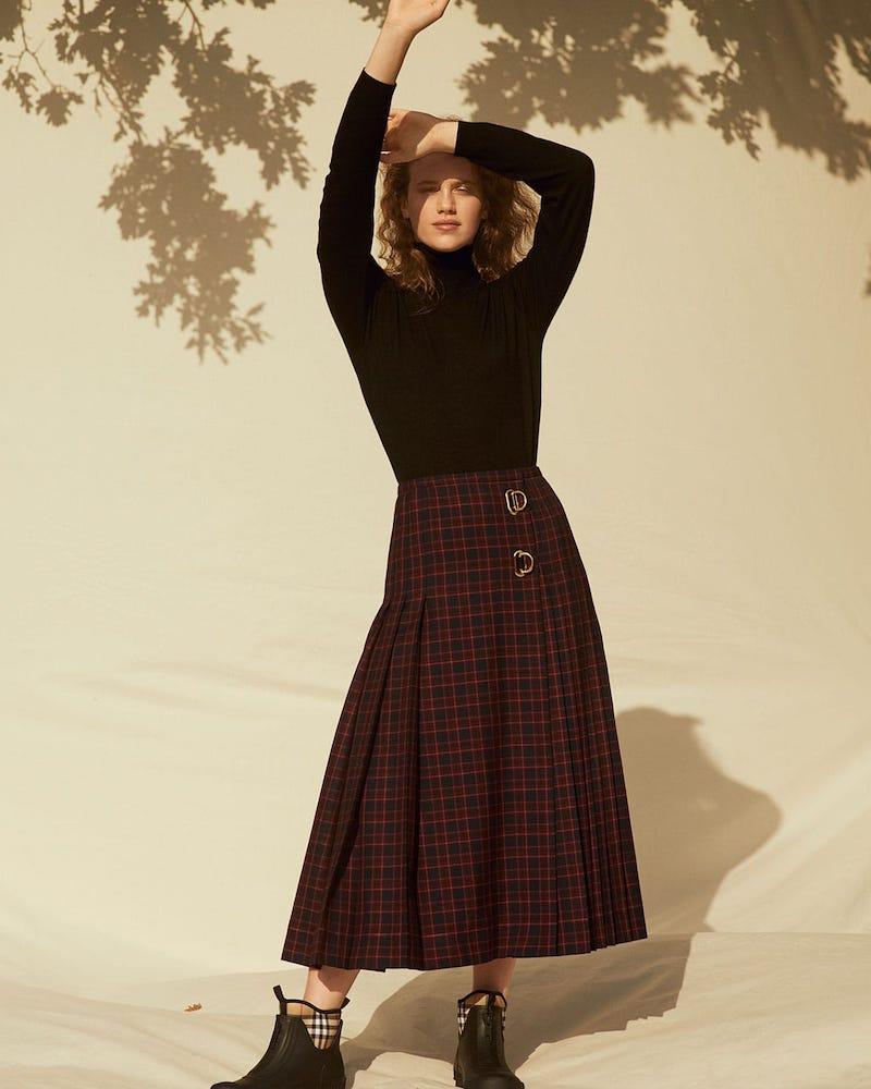 Burberry Pleated Tartan Wool Skirt
