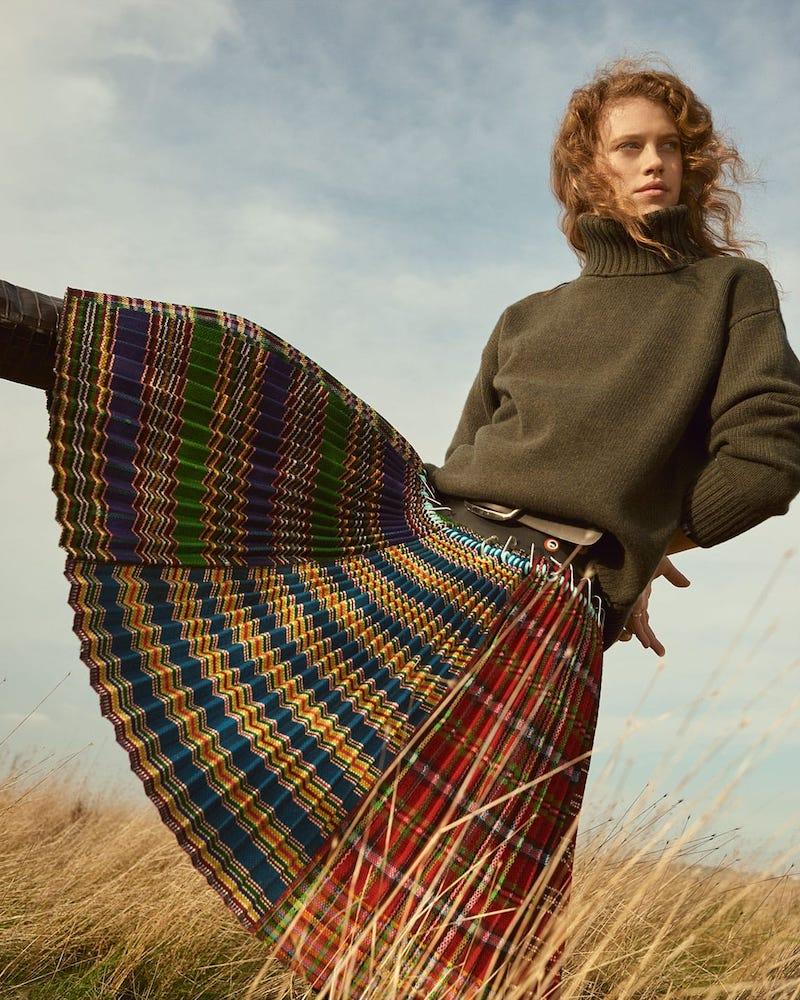 Chopova Lowena Pleated Wool Skirt