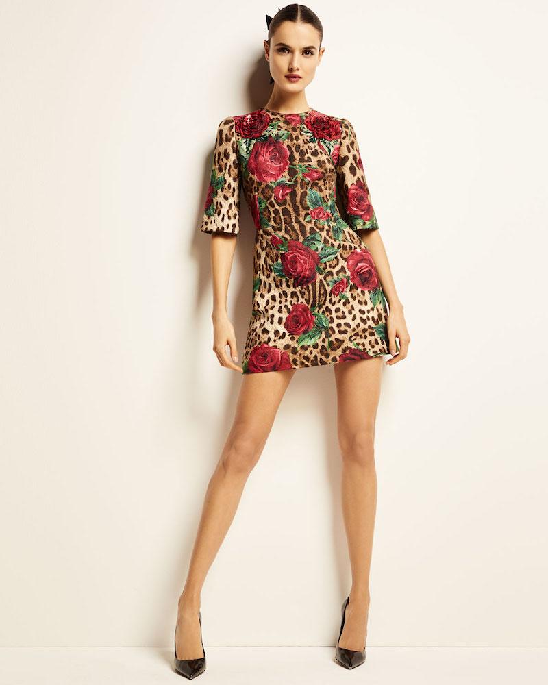 Dolce & Gabbana 1/2-Sleeve Rose & Leopard Brocade Dress