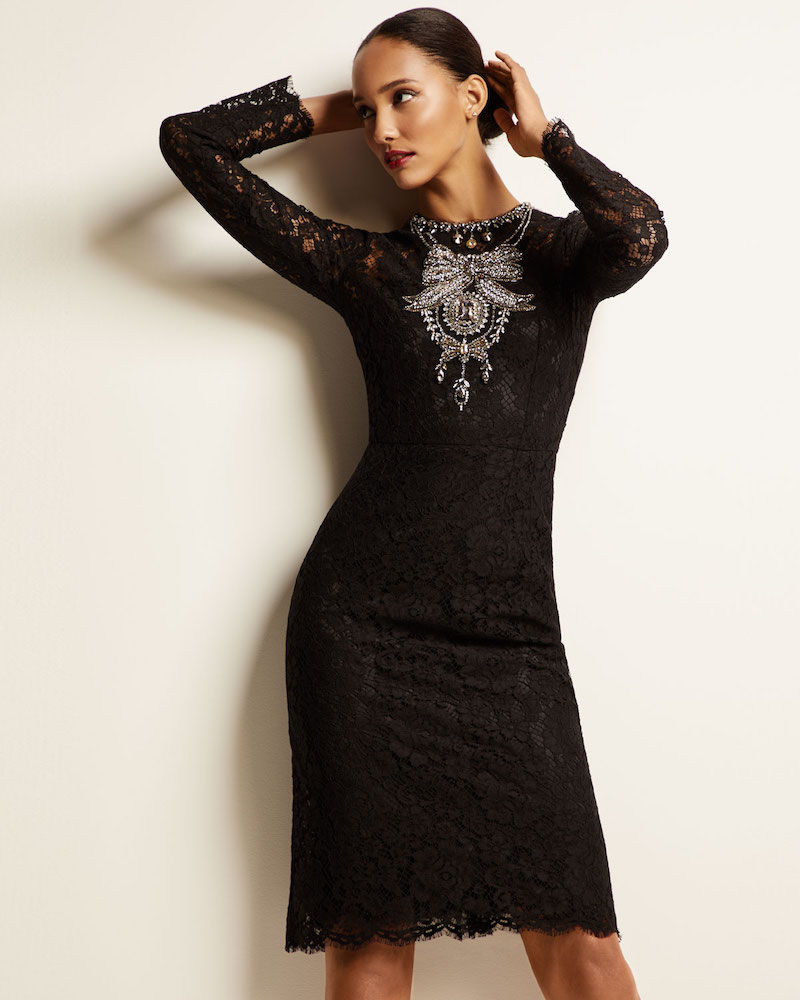 Dolce & Gabbana Long-Sleeve Crystal-Necklace Cordonetto Lace Dress