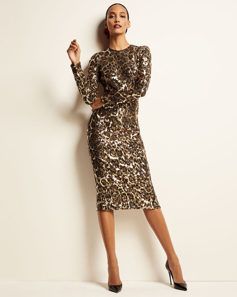 Dolce & Gabbana Long-Sleeve Sequined Leopard-Print Midi Dress