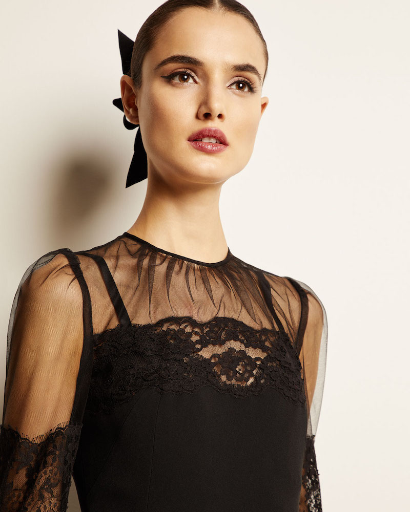 Dolce & Gabbana Long-Sleeve Sheer-Yoke Lace-Trim Midi Dress 1