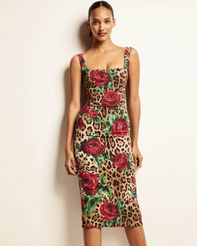 Dolce & Gabbana Sleeveless Square-Neck Rose & Leopard Print Dress 1
