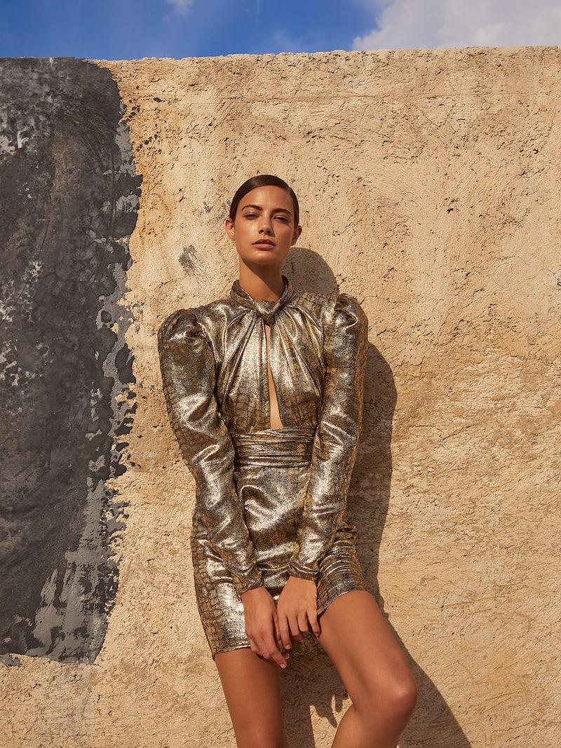 Dundas Cutout Metallic Lame Dress