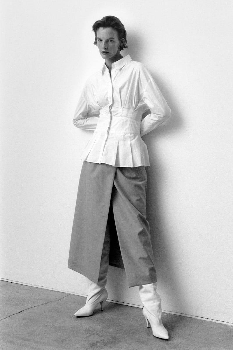 Edward Crutchley High-Rise Split-Front Wool Midi Skirt