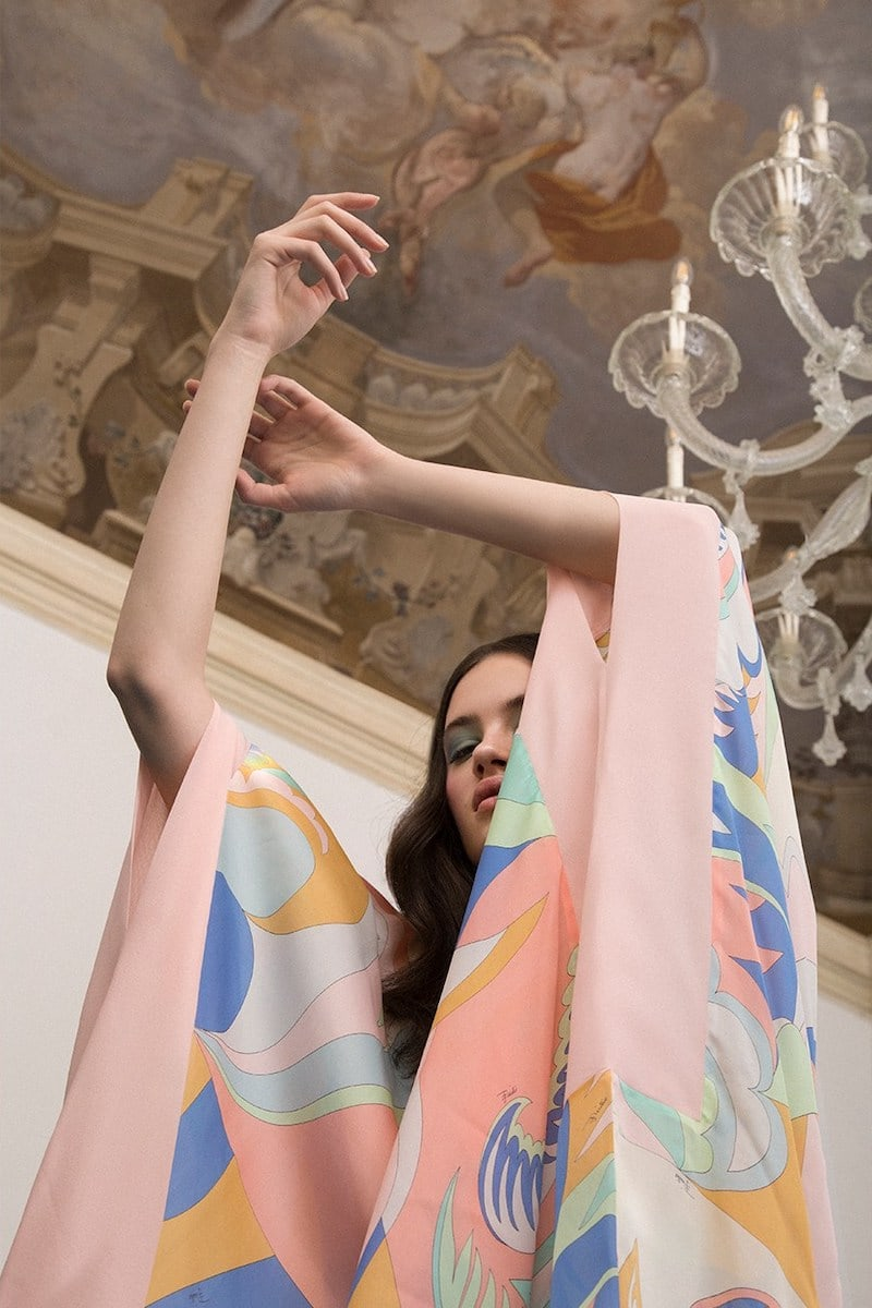Emilio Pucci Printed Silk Long Caftan Dress