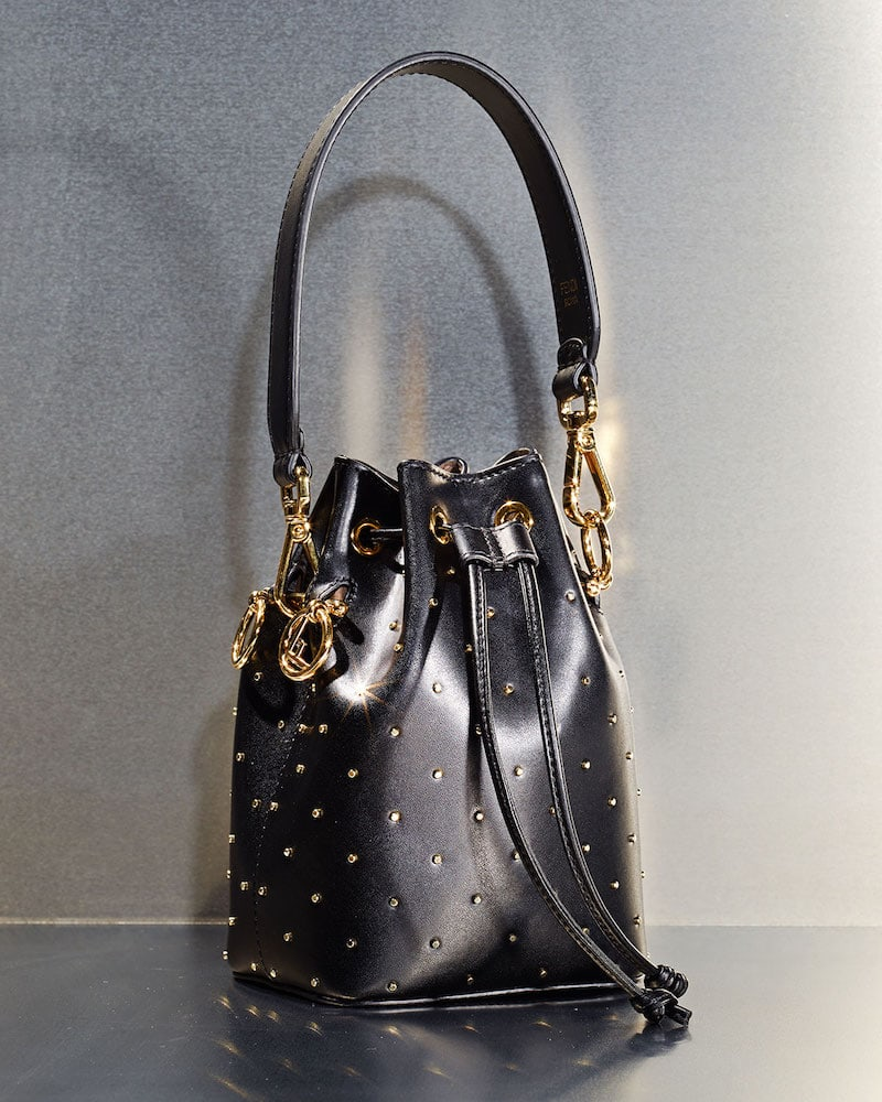 Fendi Mon Tresor Studded Leather Bucket Bag