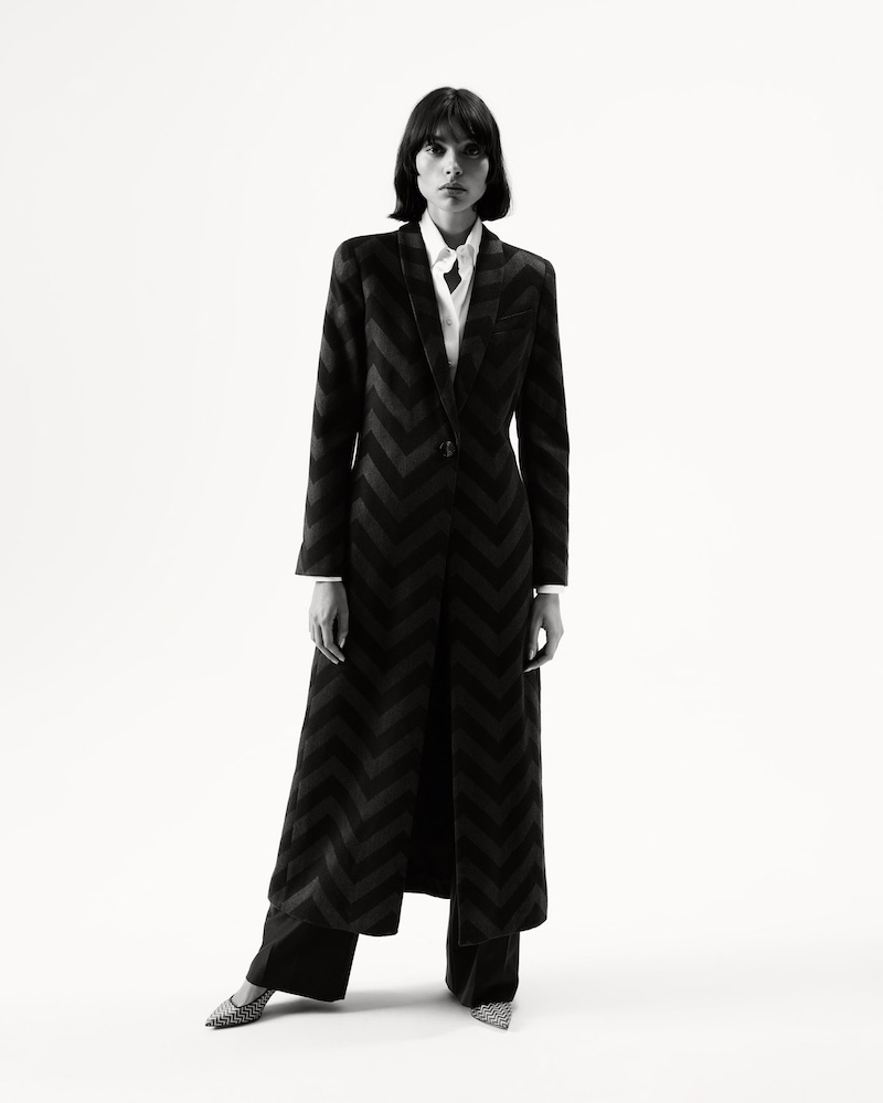 Giorgio Armani Chevron Silk-Blend Coat