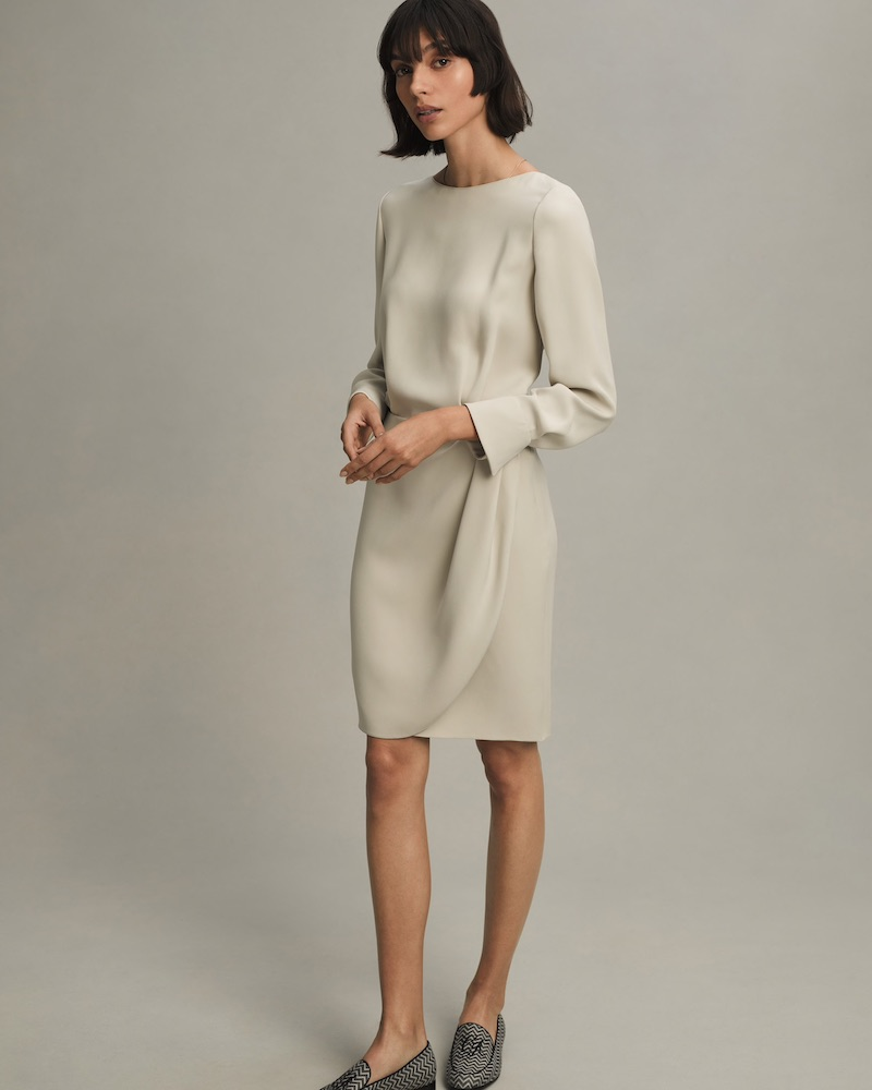Giorgio Armani Silk Crepe Blouson Dress