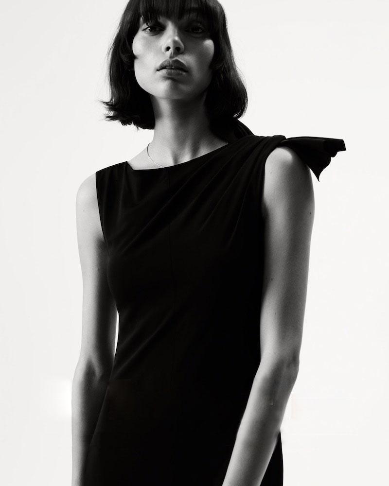 Giorgio Armani Tie-Shoulder Crepe Gown