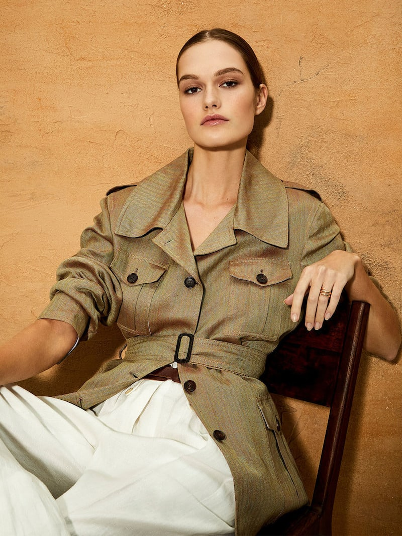 Giuliva Heritage Collection Sahariana Belted Linen-Twill Jacket