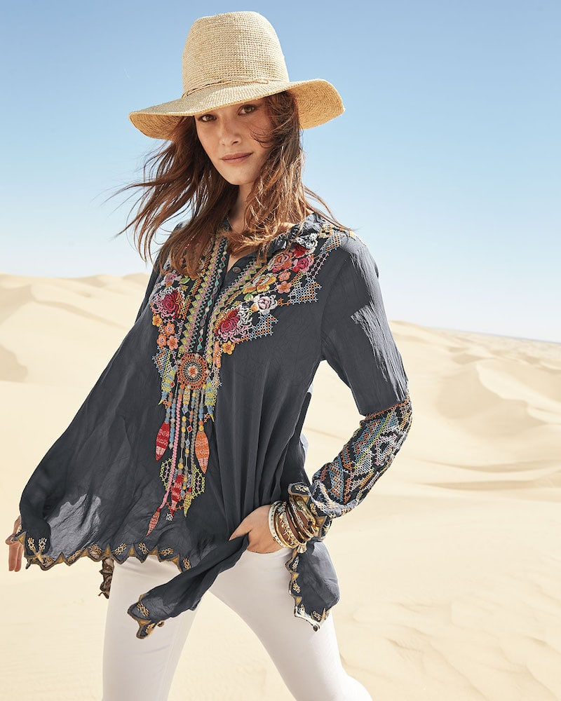 Johnny Was Festival Long-Sleeve Embroidered Georgette Tunic