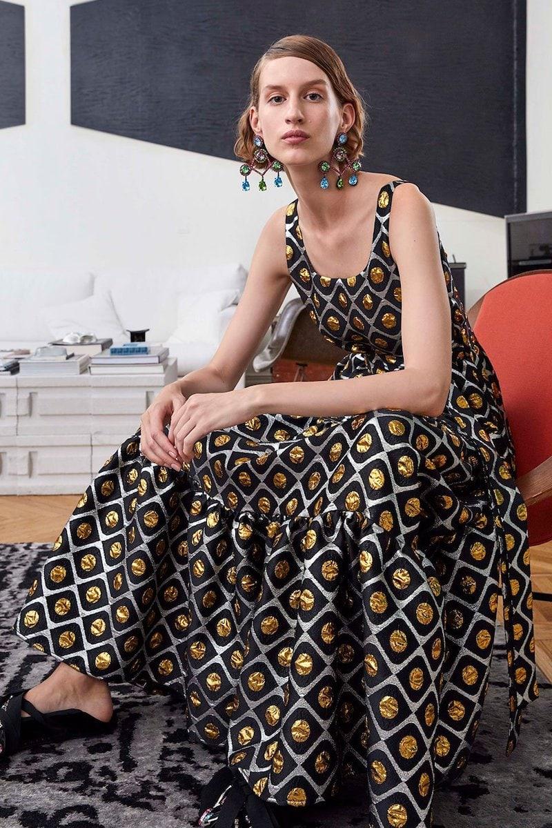 La DoubleJ Pellicano Geometric-Print Brocade Dress
