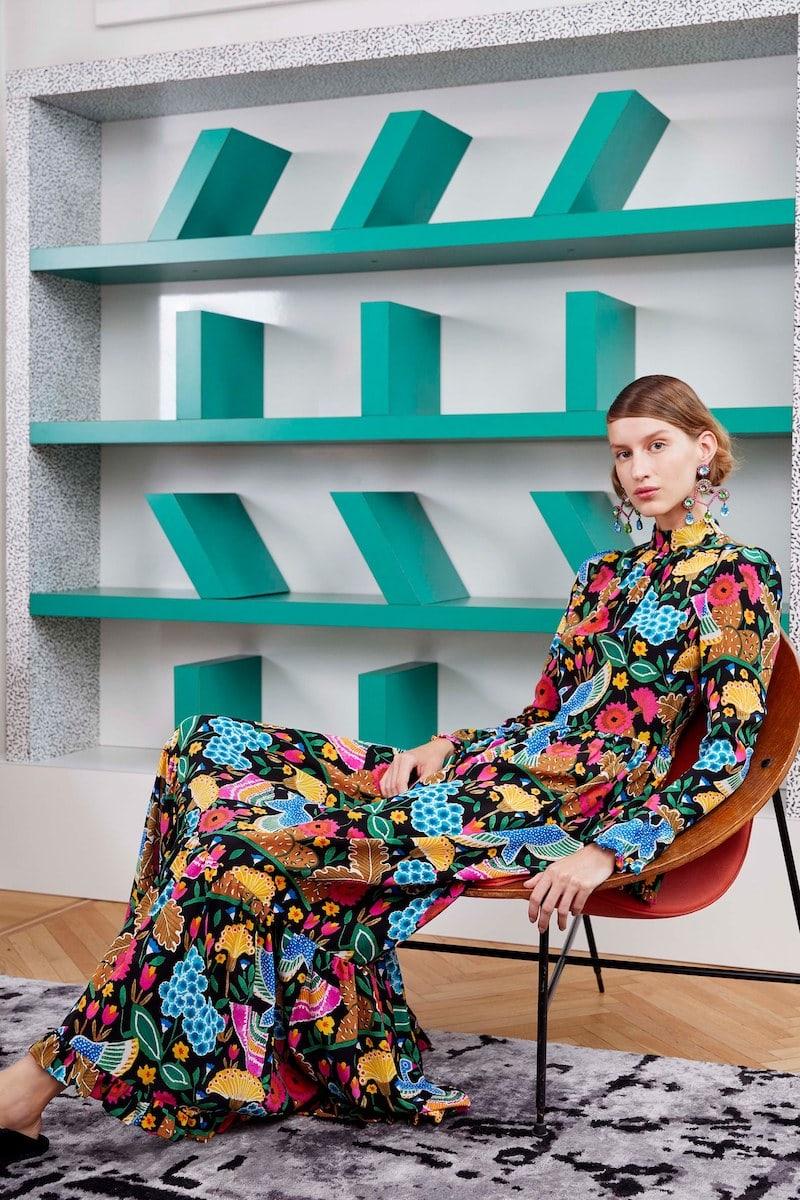 La DoubleJ Visconti Colombo-Print Silk Dress