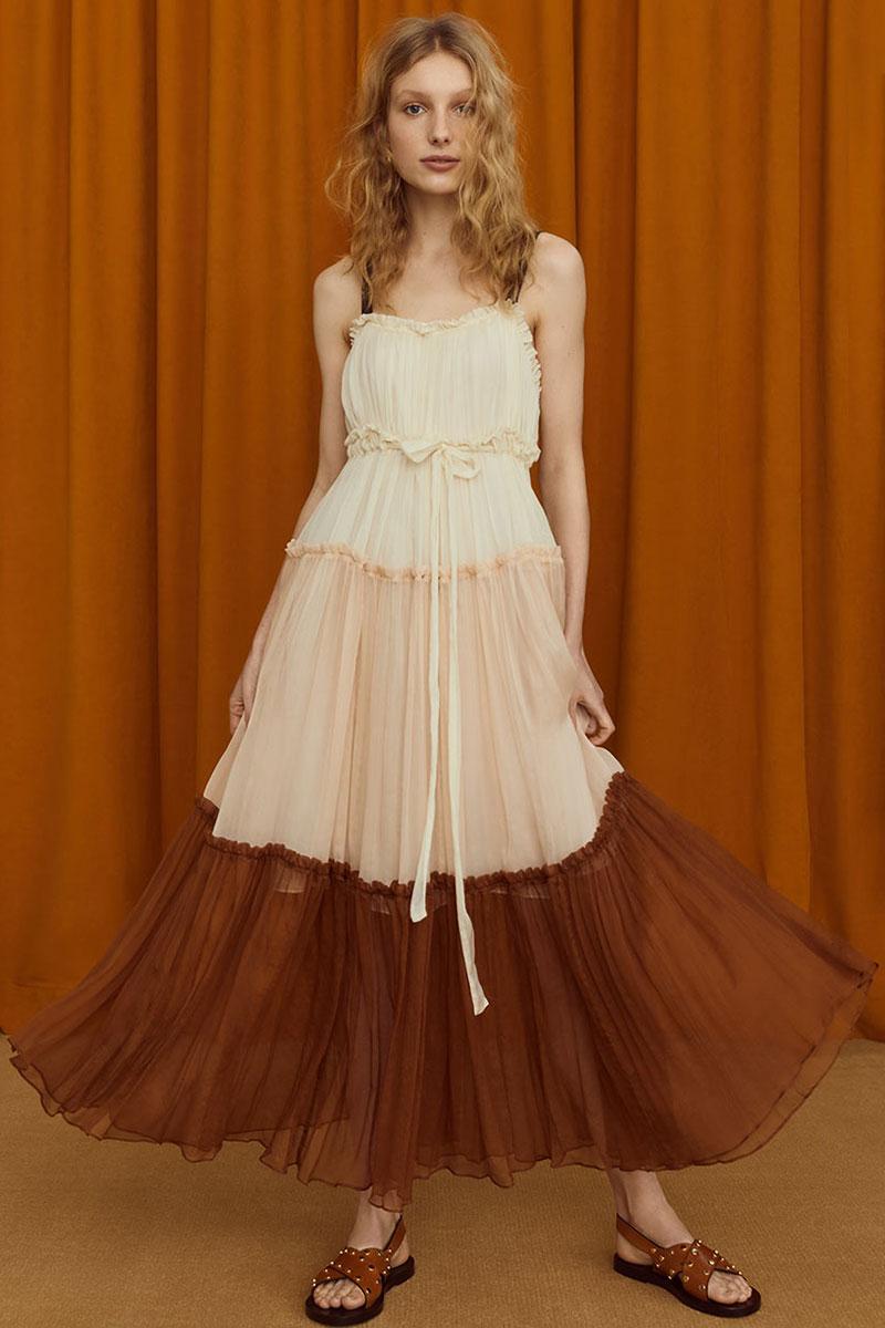 Lee Mathews Celia Tiered Crinkle Silk Maxi Dress