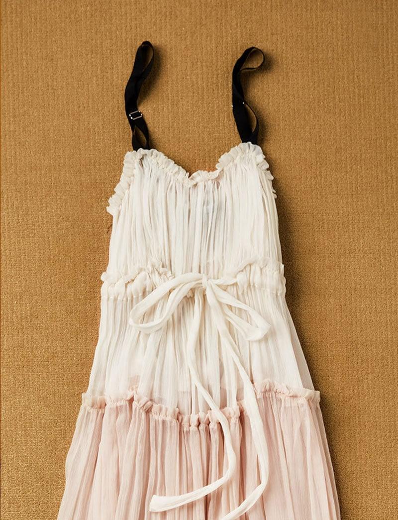 Lee Mathews Celia Tiered Crinkle Silk Maxi Dress 1