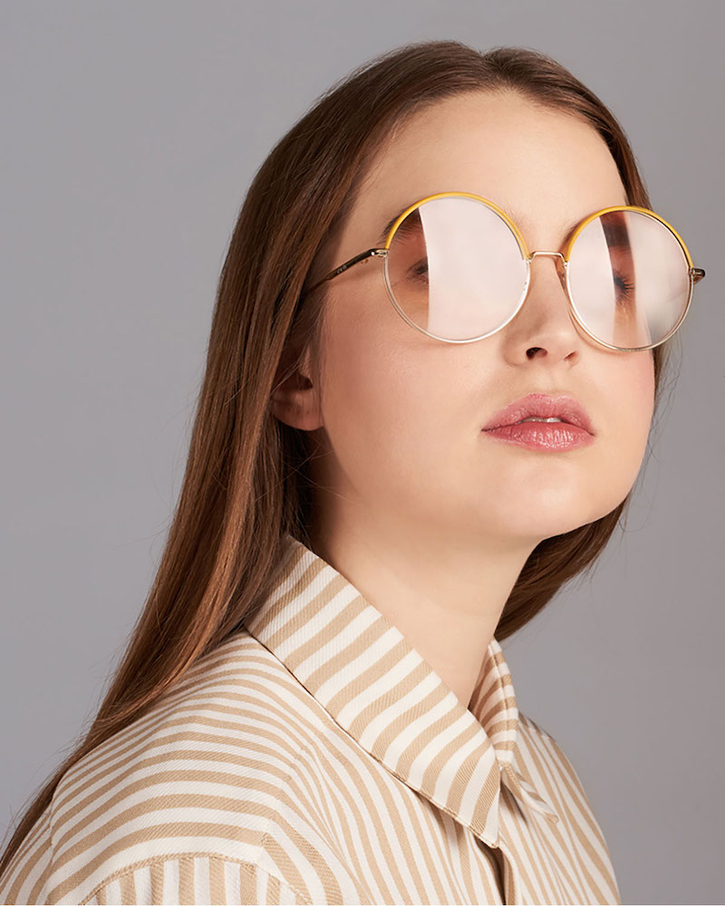 Loewe Leather Rimmed Round Sunglasses