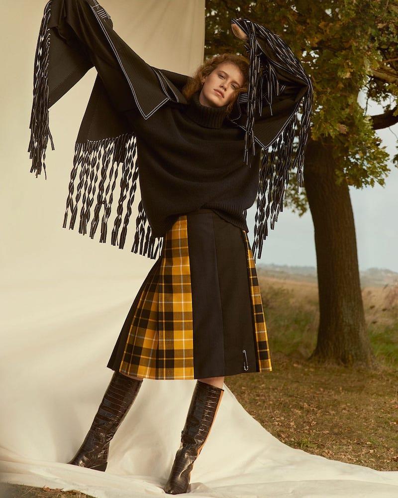 Loewe Top-Stitch Fringed Wool Coat