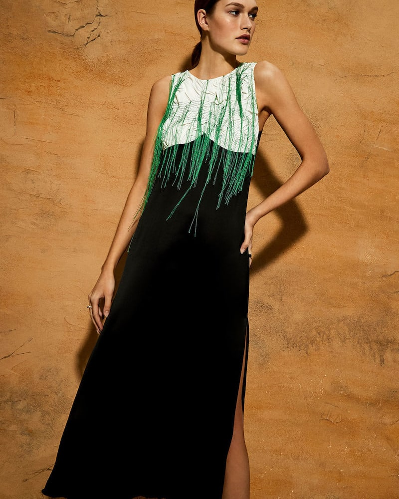 Marina Moscone V-Neck Thread Slip Dress