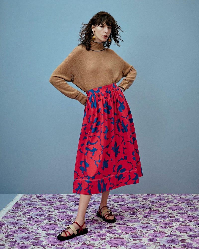 Marni Floral-Print Cotton Skirt