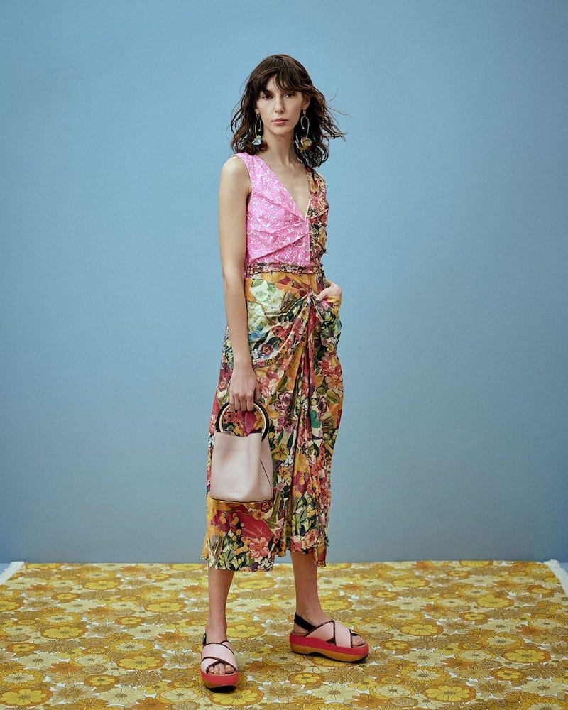 Marni Panelled Floral-Print Waxed Poplin Dress