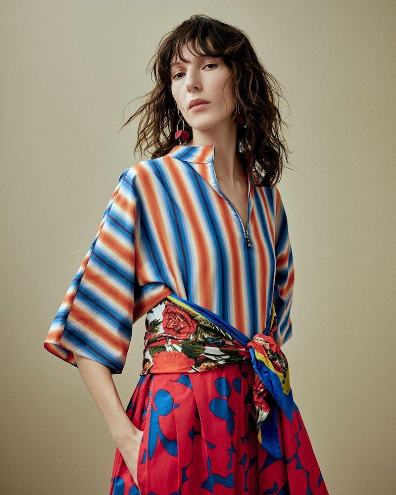 Marni Stripe and Floral-Print Midi Dress