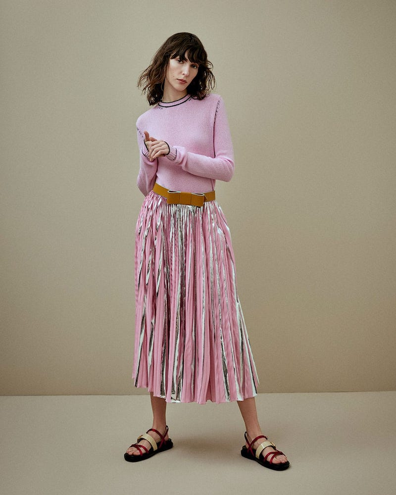 Marni Striped Pleated Midi-Skirt