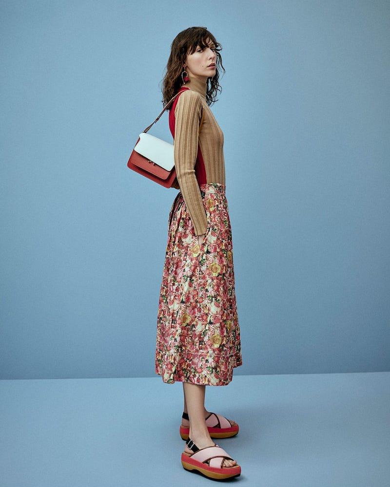 Marni Tie-Waist Floral-Print Midi Skirt