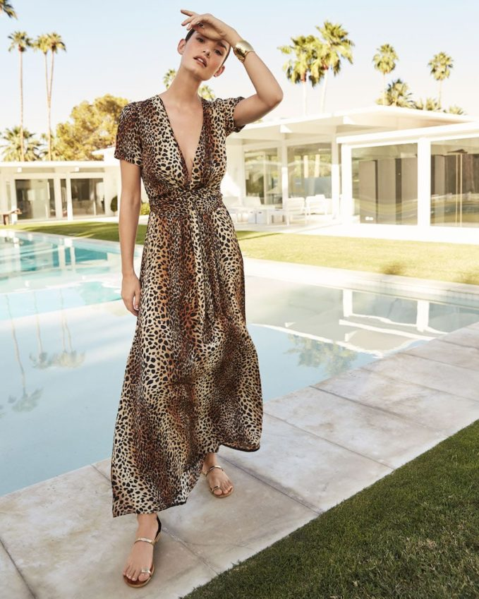 Melissa Odabash Lou Cheetah-Print Belted Short-Sleeve Maxi Dress