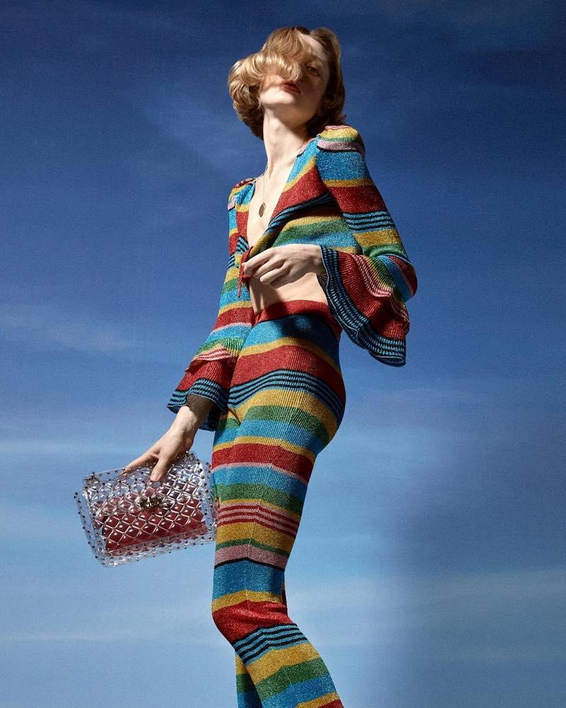 Moschino Striped Lurex Knit Pants