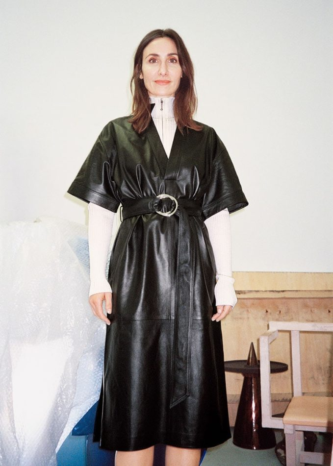 & Other Stories Belted Leather Midi Dress