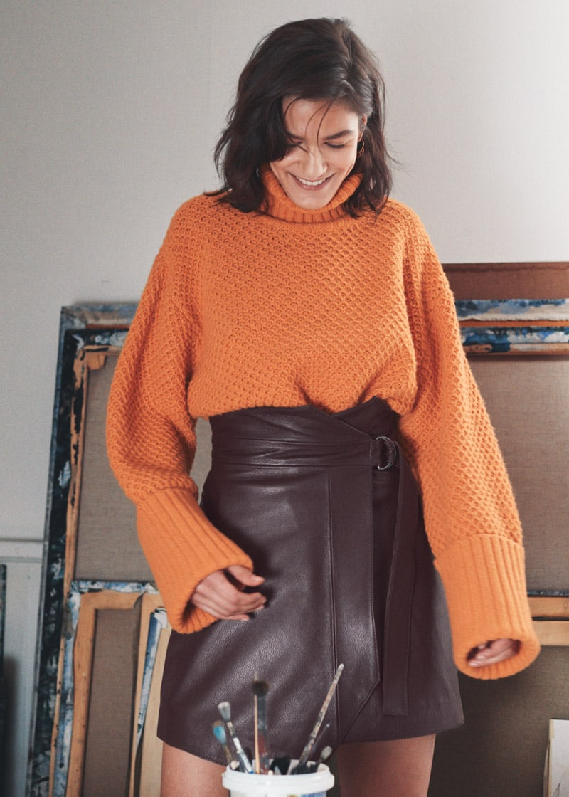 & Other Stories Cropped Wool Blend Turtleneck
