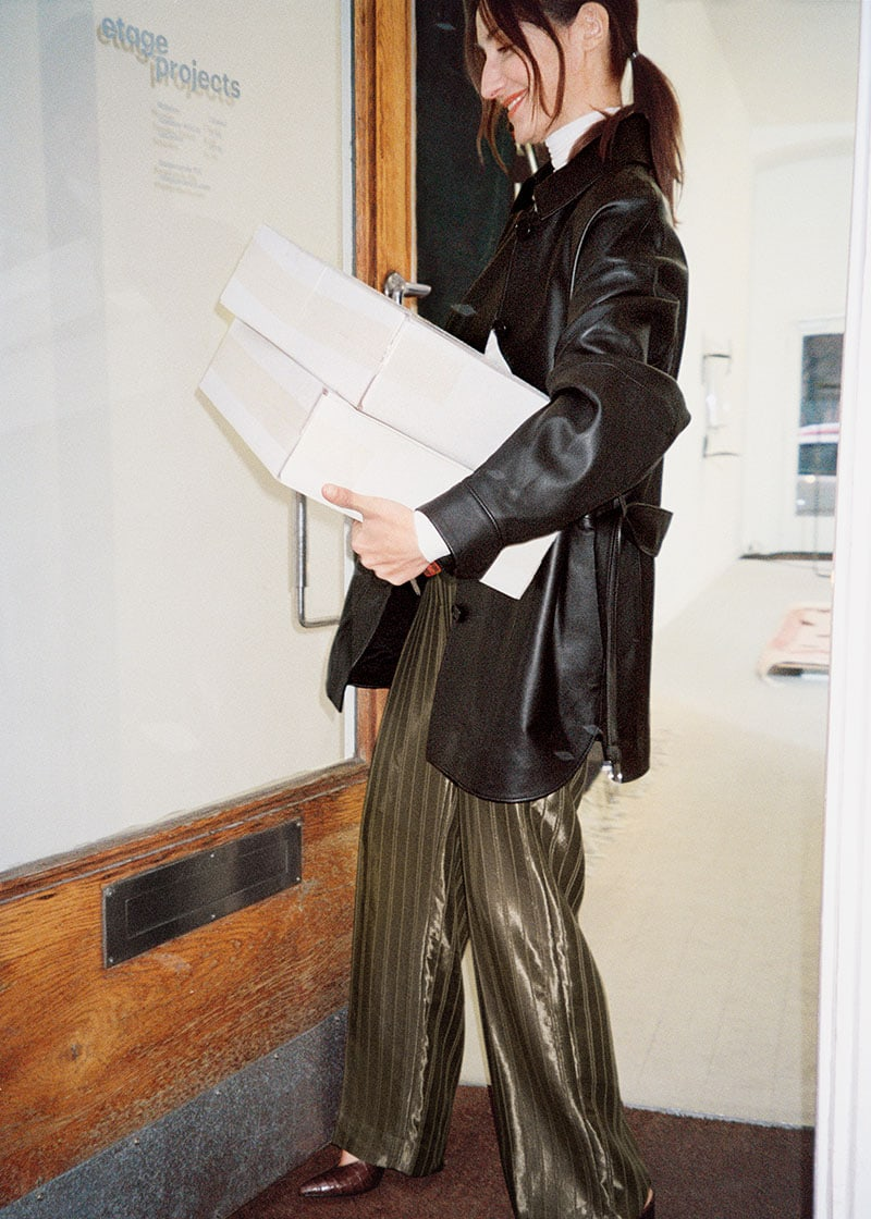 & Other Stories Oversized Belted Leather Jacket