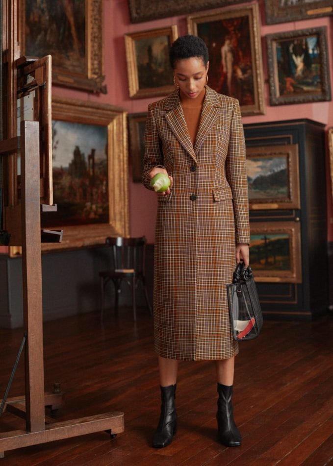 & Other Stories Plaid Hourglass Coat