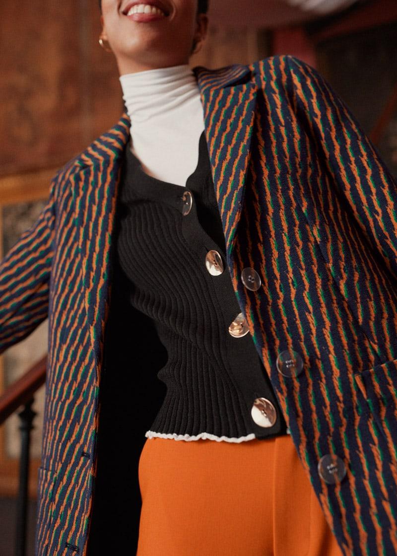 & Other Stories Striped Cotton Blend Blazer