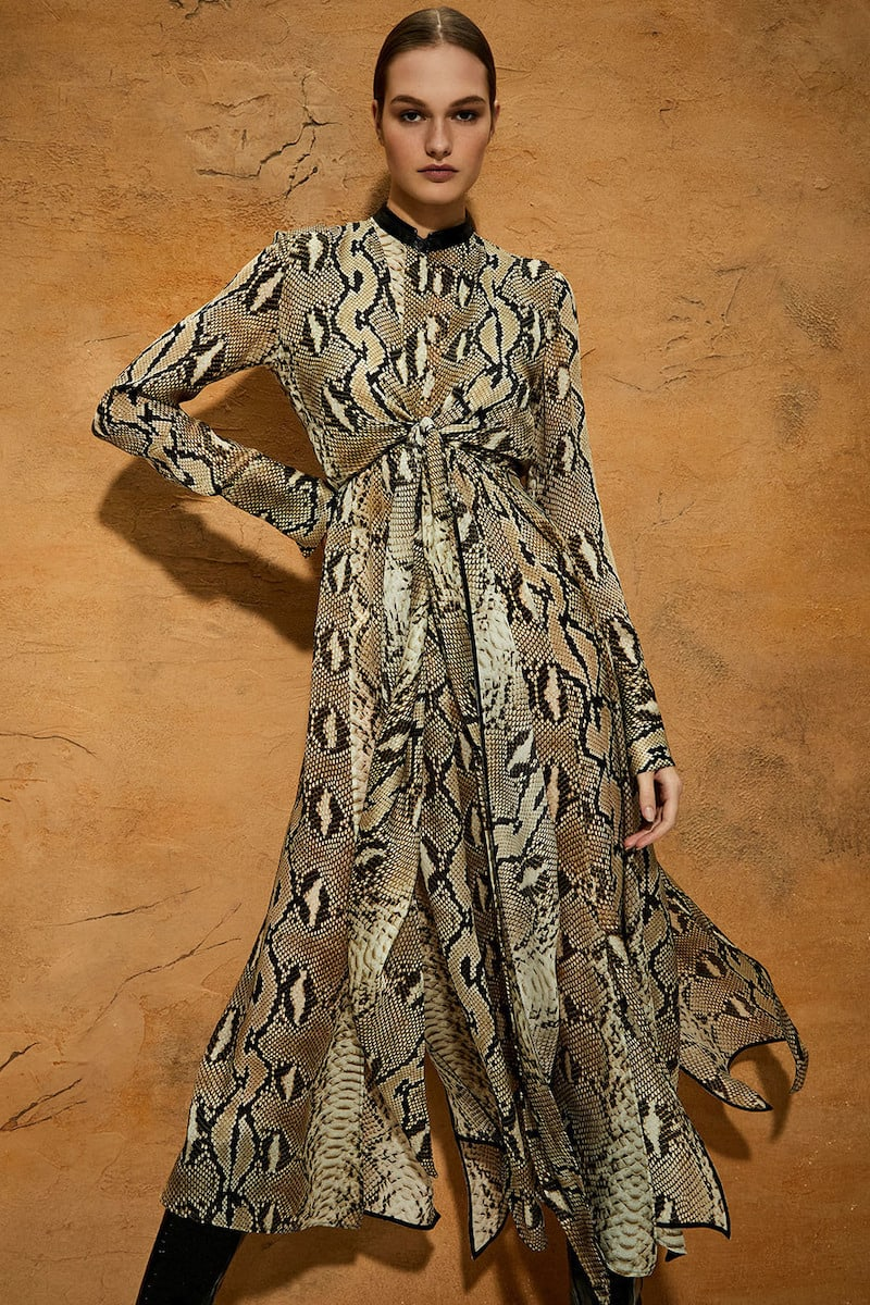 Petar Petrov Delhi Leather-Trimmed Snake-Print Silk-Chiffon Maxi Dress