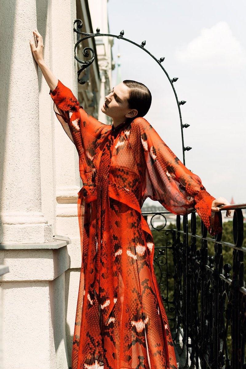 Petar Petrov Delmar Snake-Print Silk-Chiffon Dress