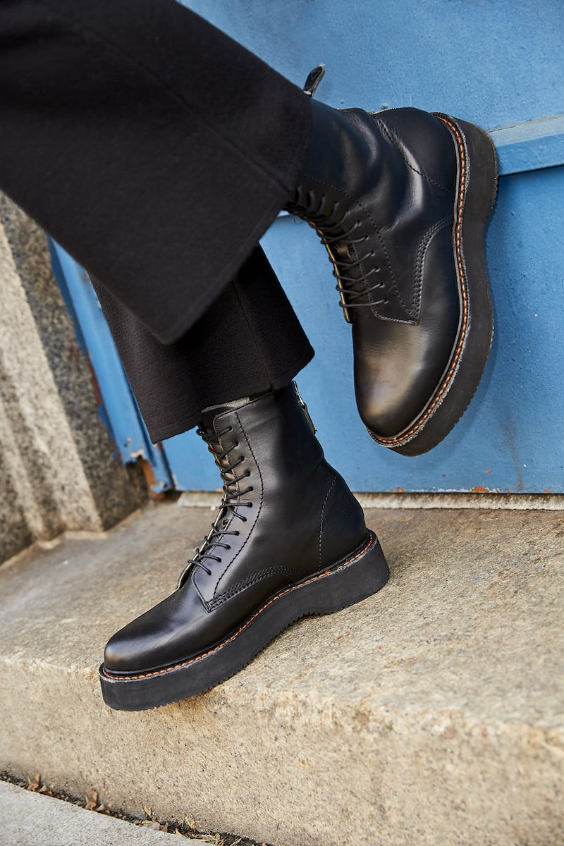 R13 Single Stacked Leather Combat Boots