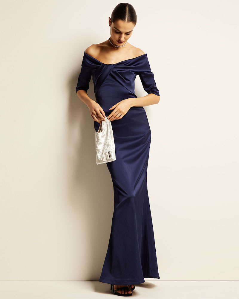 Rickie Freeman for Teri Jon Off-the-Shoulder Elbow-Sleeve Stretch Satin Mermaid Gown with Twist Detail