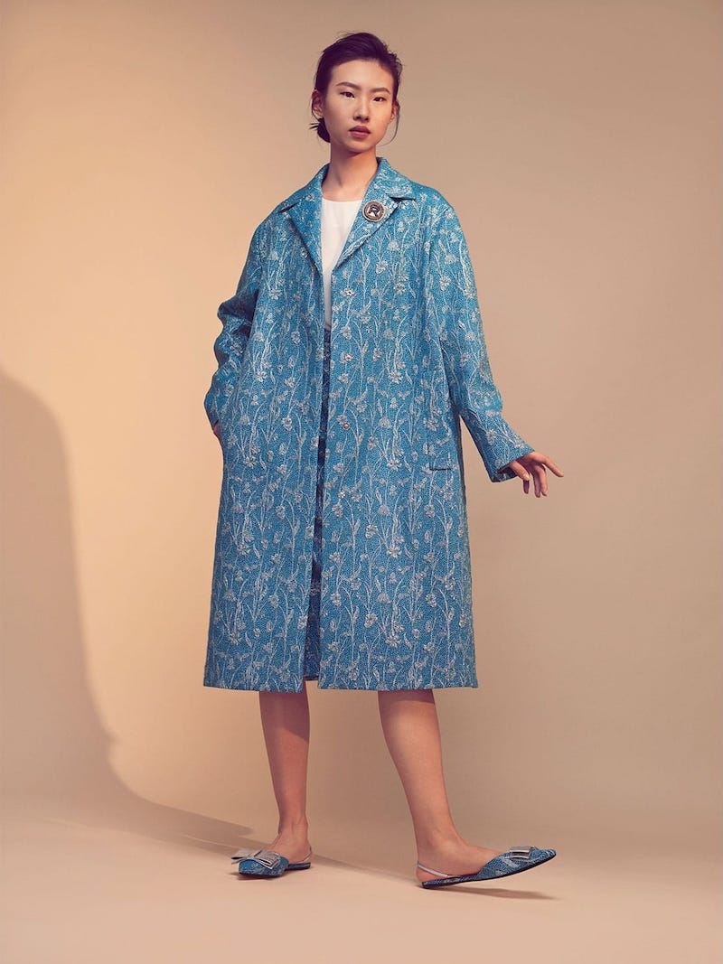 Rochas Floral-Brocade Single-Breasted Coat