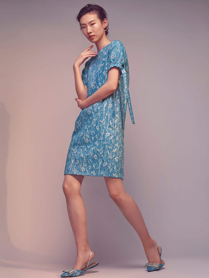 Rochas Floral-Brocade Tie-Cuff Mini Dress