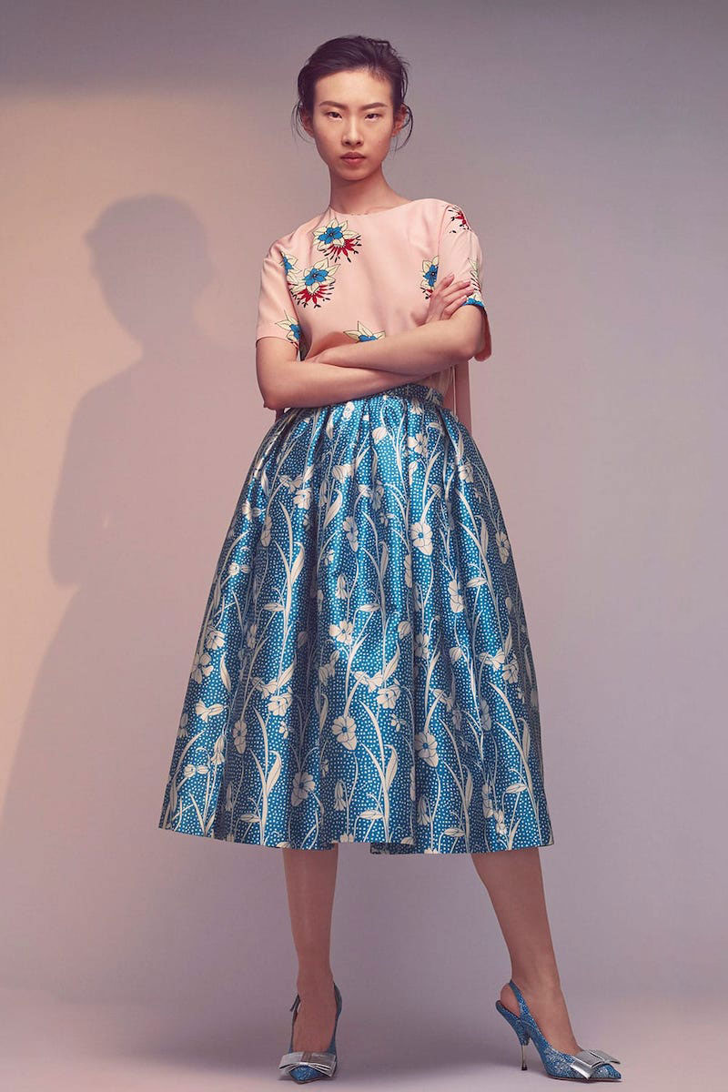 Rochas Floral-Print Duchess-Satin Pleated Skirt