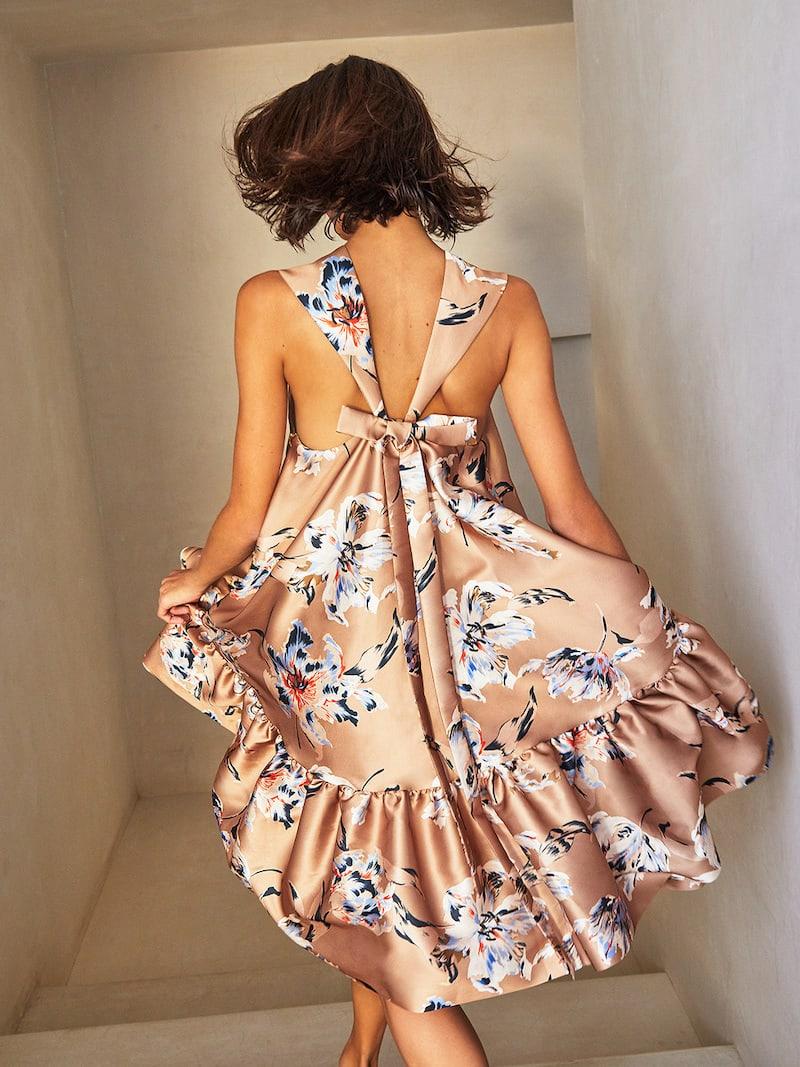 Rochas Otto Floral-Print Silk-Satin Dress