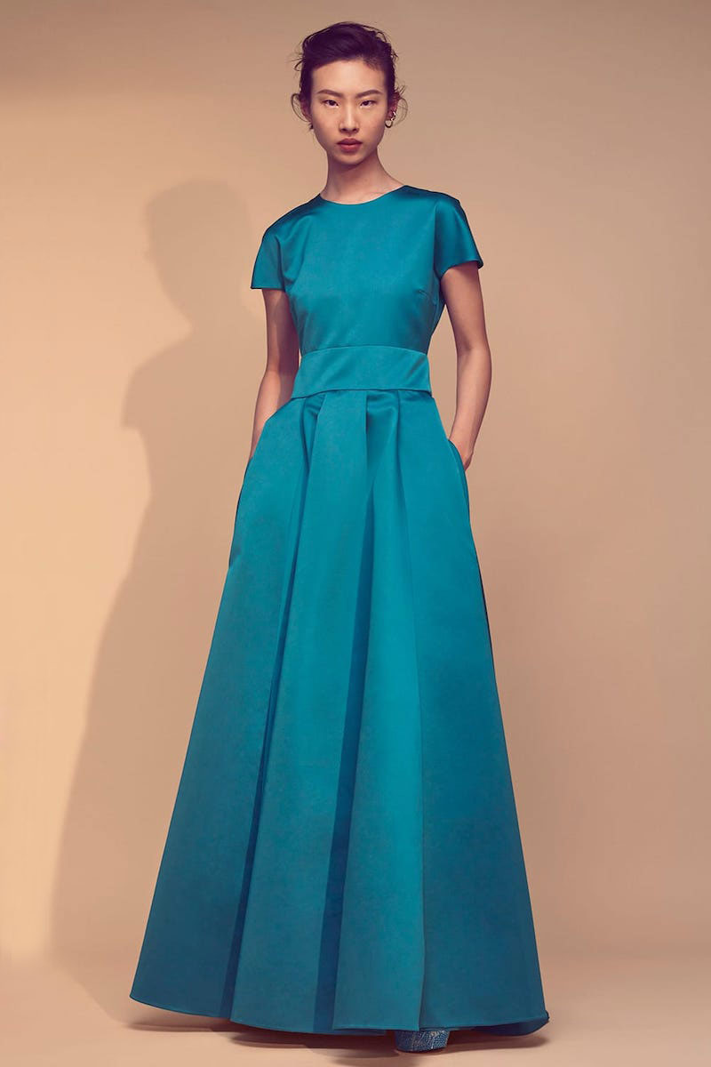 Rochas Short-Sleeved Duchess Satin Gown
