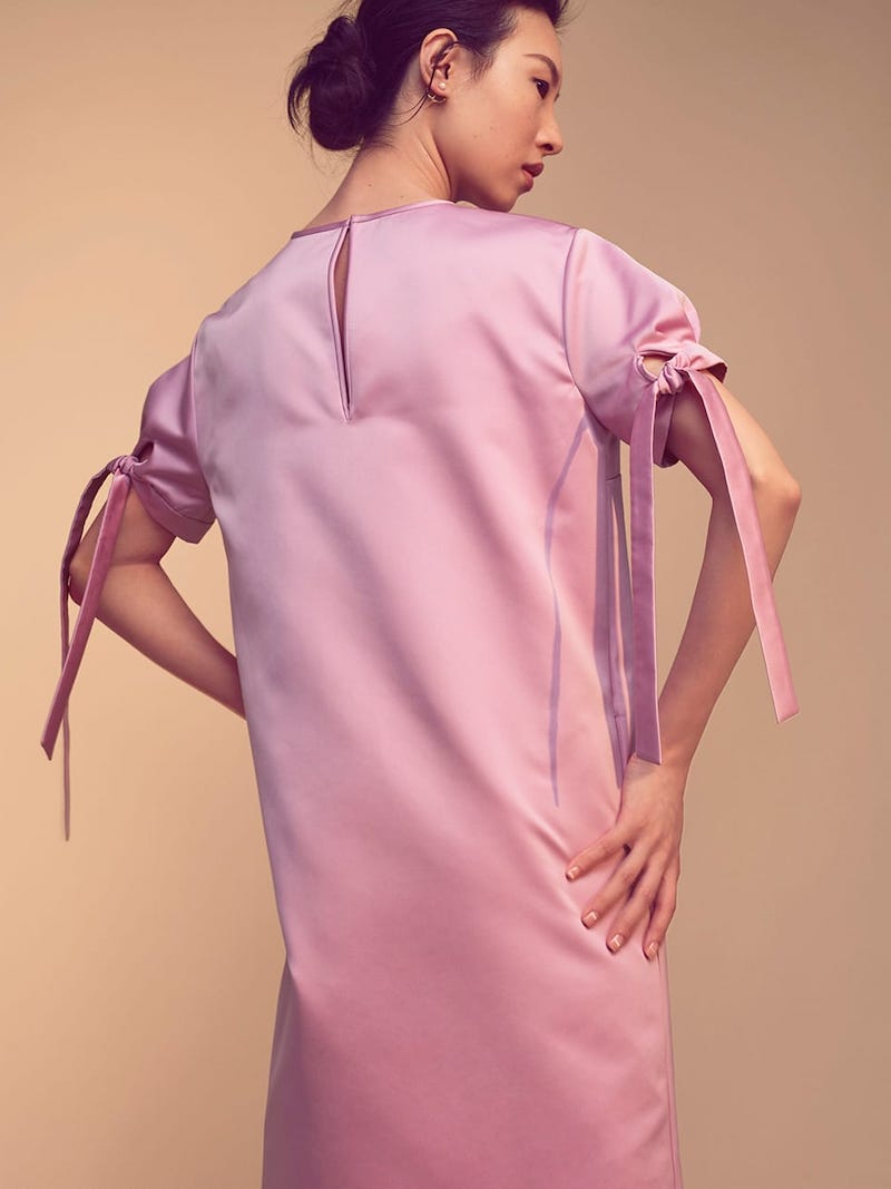 Rochas Tie-Cuff Satin Mini Dress